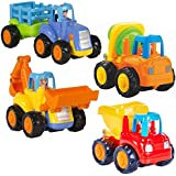 Friction Powered Cars Push and Go Car Construction Vehicles Toys Set of 4 Tractor,Bulldozer,Cement Mixer Truck,Dumper For Toddler Baby Toy 1 2 3 Years Old Kids