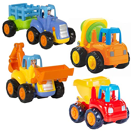 Ageoflove Friction Powered Cars Push and Go Car Construction Vehicles Toys Set of 4 Tractor,Bulldozer,Cement Mixer Truck,Dumper for Toddler Baby Toy 1 2 3 Years Old Kids