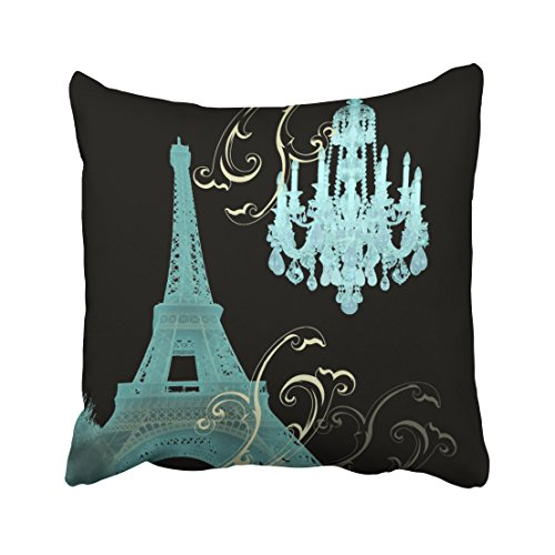 Tarolo Decorative Home Style Fashion Pillowcase Black background mint Eiffel Tower crystal lamp Pillow Cover Cushion Case Cotton Standard Invisible Zipper Size 20x20 inches(50x50cm) One - Background Without Sunglasses