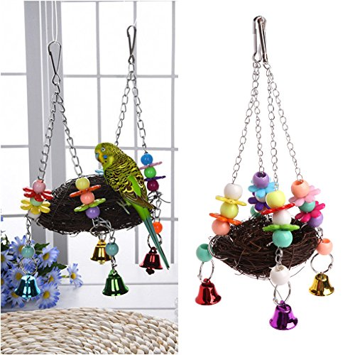 Bird Swing ,NNDA CO 1 Pc Natural Rattan Nest Bird Swing Toy with Bells Cage Perch Stand For Parrot Budgie Parakeet Cockatiel ,Rattan+Acrylic (Rattan Swings)