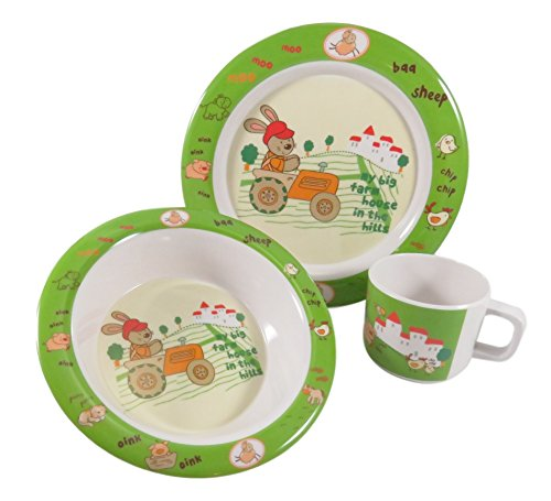 Adorable Easter Kids Children Dinnerware Melamine Rabbit Cup Bowl Plate Set Green White (3 Piece)