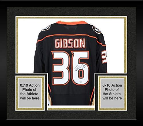 Framed John Gibson Anaheim Ducks Autographed Black Fanatics Breakaway Jersey - Fanatics Authentic Certified