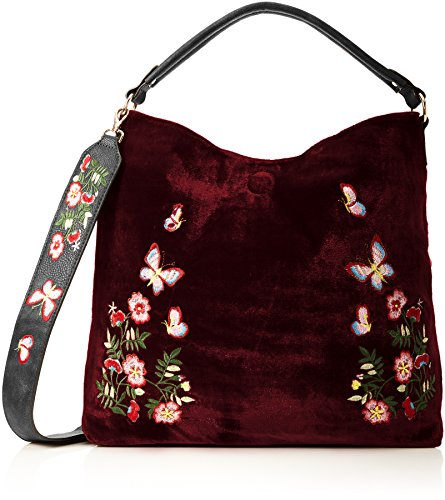 Swankyswans Daria Velvet Reversible Bag - Shoppers y bolsos de hombro Mujer Rojo (Burgundy)