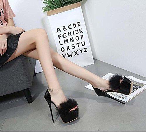 Shoes Scarpin Shoes Eu Toe Sandals 40 Pump Ankle D'orsay Size Party Shoes Dress 5cm Plush Black Wedding 34 Open 16 Strap PaEwp