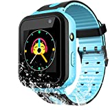 Kids Waterproof Smart Watch for Girls Boys -2018 IP67 Water-resistant Children Smartwatch with GPS/LBS Tracker SOS Camera Game for Summer Outdoor Sports Watch Phone (01 S7 Blue)