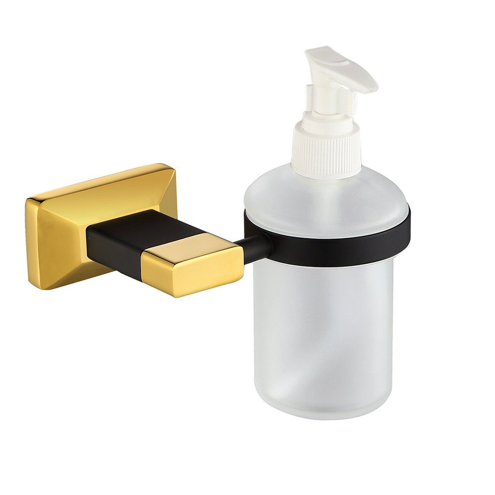 Sumin Home 2814B Shower Liquid Soap Dispenser Wall Mounted, Black Gold