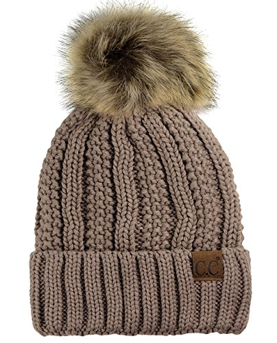 C.C Thick Cable Knit Faux Fuzzy Fur Pom Fleece Lined Skull Cap Cuff Beanie, Taupe