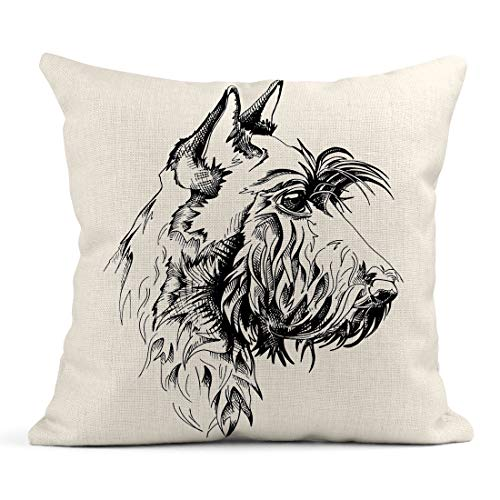 (Emvency Decor Flax Throw Pillow Covers Case Drawing Scottish Terrier Dog Animal Black Breed Canine Cute Domestic Drawn 20