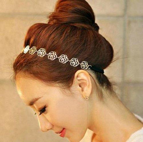 Asien Sannysis 1 PC Doux Dame Creux Rose Wonder Flower Élastique Cheveux Bandeau Bandeau Pour Les Filles