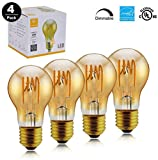 TECHLUX 4 Pack Amber Glass LED Edison Bulbs,6.5W Dimmable,25W Equivalent,Vintage Spiral Flexible LED Filament Lights Bulb,Warm White 2000K,A19 Bulb Shape,E26 Medium Screw Base,2 Years Warranty