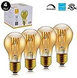 TECHLUX 4 Pack Amber Glass LED Edison Bulbs,6.5W Dimmable,25W Equivalent,Vintage Spiral Flexible LED Filament Lights Bulb,Warm White 2000K,A19 Bulb Shape,E26 Medium Screw Base,2 Years Warranty