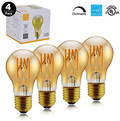 TECHLUX A19 Dimmable Vintage Flexible Spiral Flexible LED Filament Lights Bulb Vintage Amber Glass LED Reading/Bedroom/Bar Lighting,25W Equivalent,Warm White 2000K,E26,Pack of 4