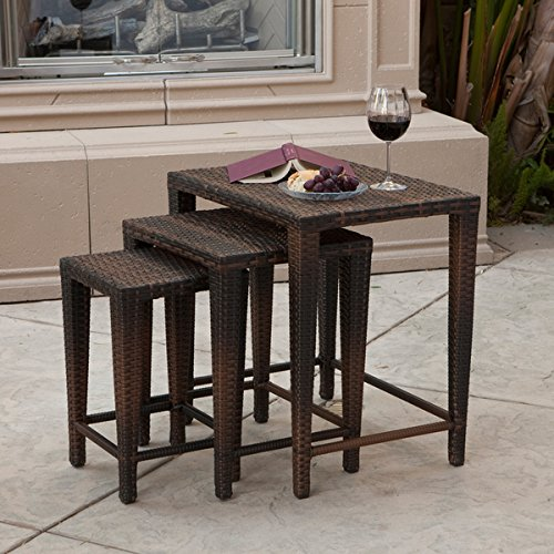 Outdoor Brown Wicker Nested Tables (Set of 3)