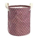 Tuersuer Easy to Assemble 2326cm Cotton Linen Storage Clothes Basket Organization Garment Bag Laundry Hamper Daily Stuff Bag,Purple