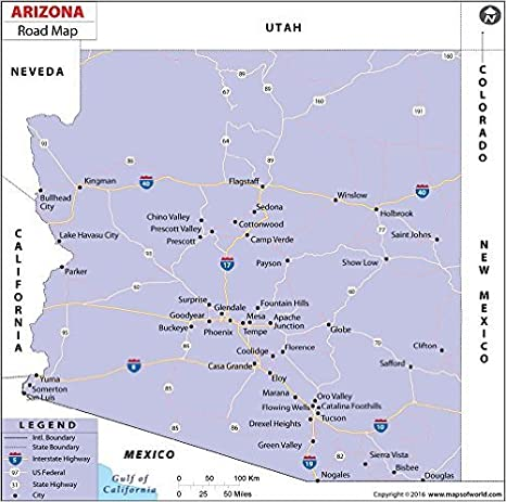 Amazon.com : Arizona Highway Map - Laminated (36\