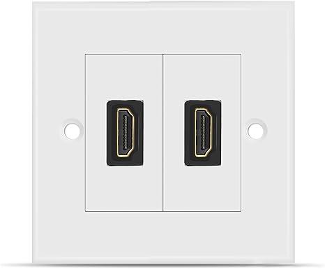 TNP Placa de Pared con 2 Puertos (Paquete de 2), Placa Frontal para Cables de HDMI, Toma de Corriente Cubierta Decorativa, Panel de Montaje Empotrable de Salida para Proyector, Cine en Casa,