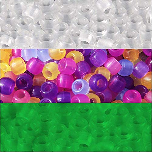 1000Pcs UV Beads Color Changing Sensitive Beads Plastic Reactive Pony Beads Glow in The Dark for Jewelry Making (1000pcs)