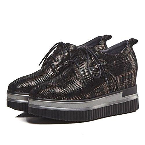 GAOLIXIA Zapatos Casuales con Cordones de Tacones Altos para Mujeres Zapatos Casuales con Plataforma de Muffins y Cuñas Color de la pistola