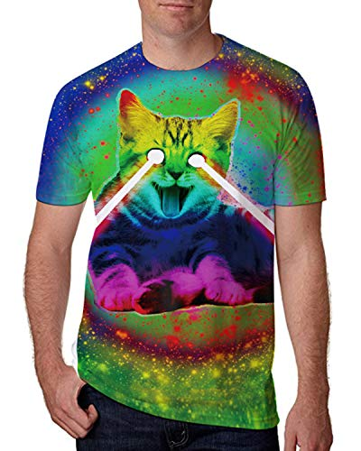 Leapparel Unisex 3D Digital Printed Personalized Short Sleeve T Shirts Tees (Colorful Cat, XL),Colorful Cat