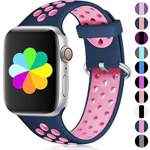 Haveda Sport Bands Compatible for Apple Watch 44mm Series 4, Breathable Silicone 42mm Women Bands for Apple Watch, iWatch Series 4/3/2/1 Men Kids 42mm/44mm M/L Mightnight Blue/Rose
