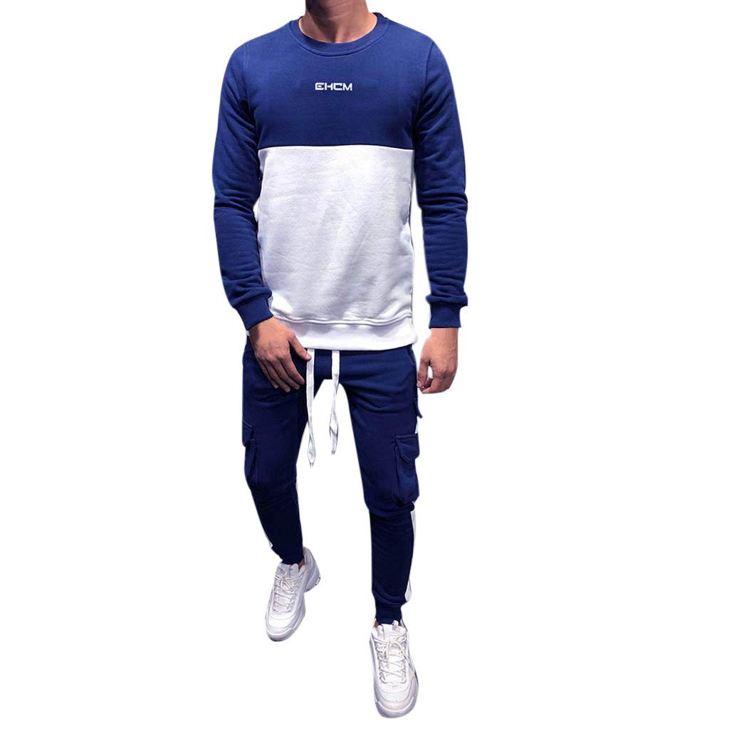 Zainafacai Men 2 Piece Autumn Winter Patchwork Long Sleeve Casual Sweatshirt Hoodies Solid Color Tracksuits Sportswear Blue by Zainafacai