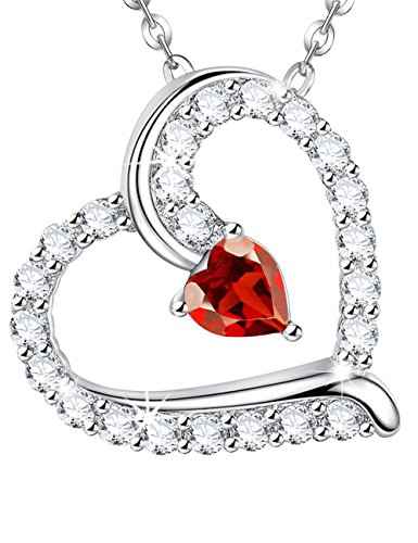 (July Birthstone Red Ruby Heart Necklace Jewelry Birthday Anniversary gift for Woman Wife Girls Sterling Silver Swarovski)