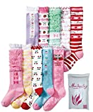 Girls' Socks Knee High Stockings Cotton Warm Princess Boot Socks,10 Pairs (7~10 Years)
