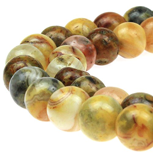 JARTC Best Sellers Natural Stone Beads Mexican Mad Agate Round Loose Beads For Jewelry Making Diy Bracelet Necklace (6mm)