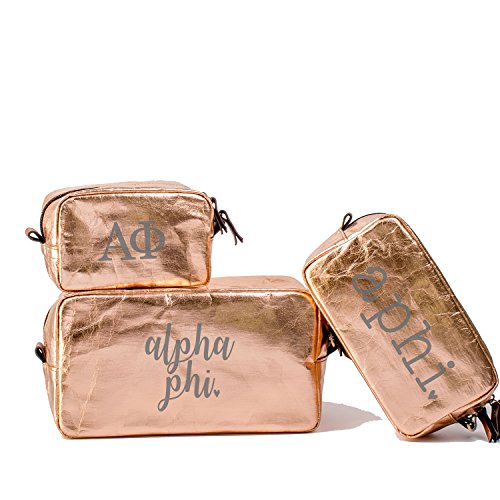 A-List Greek Cosmetic Bag Alpha Phi Sorority Travel Set of 3 - Silver Greeks Letter Design | Ideal to store Makeup, Jewelry & Other Accessories - Perfect Gift for any - Camping For Things List Of