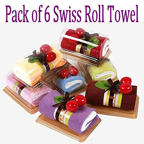 Pack of 6 Swiss Roll Folded Towel Towel Personalized Wedding Gift Thank You Guest Favor Bridal Shower Baby Showers Birthday Party Flavor Goodie Bags, Perfect - Cake Shower Favors Towel