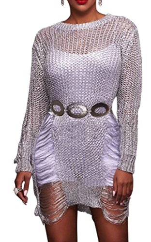 Bodycon Ripped Long Sexy Midi Hole Womens Cruiize Dress Silver Hollow Sleeve 0qRwfBtP