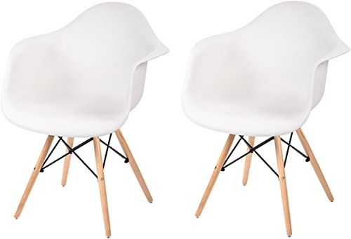 Mr Direct Modern Molded Plastic Dining Arm Side Chairs Wood Legs Set of 2