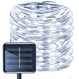 WONFAST Solar Rope Lights, 23ft 50LED Waterproof Copper Wire Outdoor Tube String Lights for Decking Garden Christmas Party Path Stairs Patio (White)