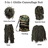 MOPHOTO 5 in 1 Youth Ghillie Suit Camouflage Hunting Apparel Including Jacket, Pants, Hood, Rifle Wrap, Carry Bag Suitable for Kids/Children