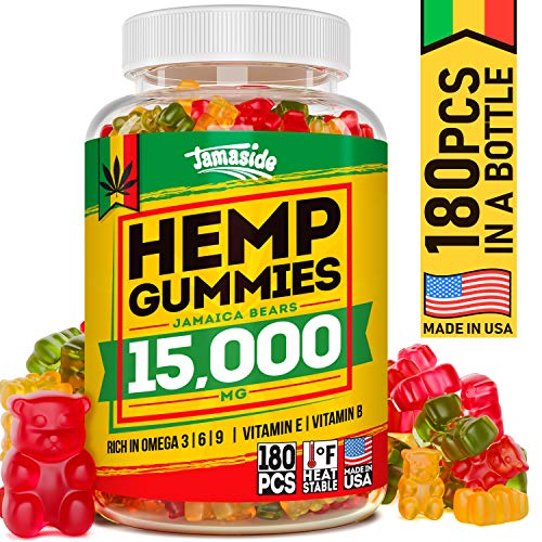 Hemp Gummies 15000 MG - Made in USA - 83 MG Hemp in Each Gummy - Premium Hemp Extract - CO2 Extraction - Omega 3, 6, 9 - Pain, Anxiety & Stress Relief - Sleep & Mood Improvement