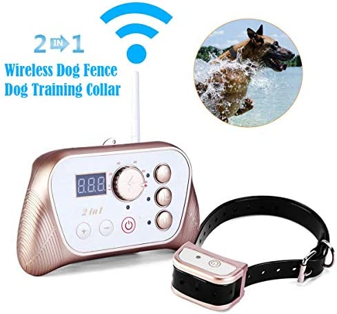 JUSTPET Wireless Dog Fence Training Collar 2-in-1 System, Stable Signal Wireless Pet Fence, Tone Vibrate Shock Remote Collar, Rechargeable Waterproof Collar