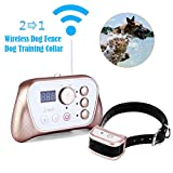 JUSTPET Electric Wireless Dog Fence Training Collar 2-in-1 System, Stablest Signal Wireless Pet Fence, Beep/Vibrate/Static Shock Remote Collar, Rechargeable Waterproof Collar Receiver