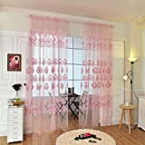 M-Egal 1PC Flower Printed Rod Pocket Tulle Voile Curtain Drapes Transparent Window Screening Curtain