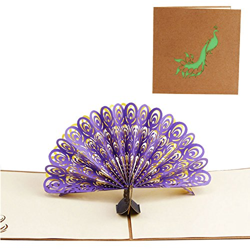 SCASTOE 3D Pop Up Greeting Card Peacock Birthday Easter Anniversary Mother's Day Thanks (purple vintage front cover)