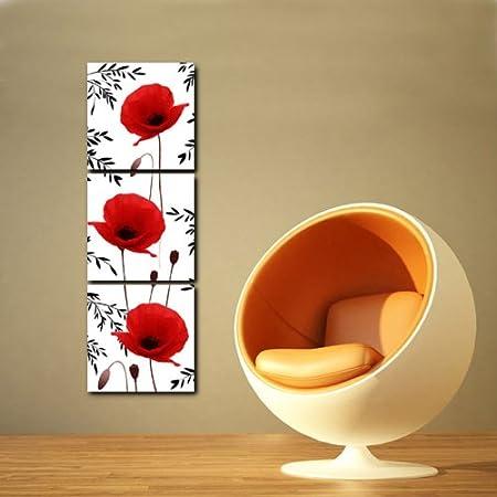 Gallery Canvas Art-3 Panels Wall Art Vertical Red Poppy Flowers ...