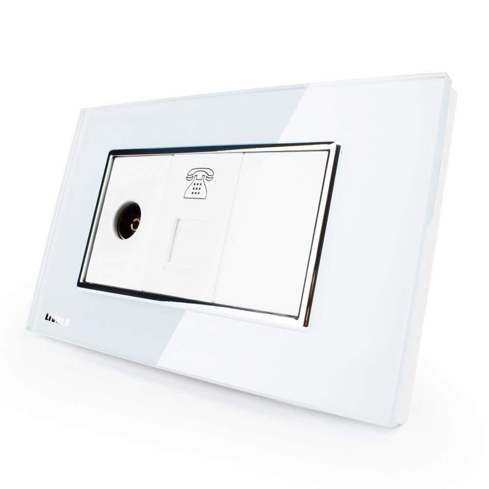 LIVOLO White US/AU Standard Luxury TV & Telephone Socket With White Pearl Crystal Glass, C391VT-81