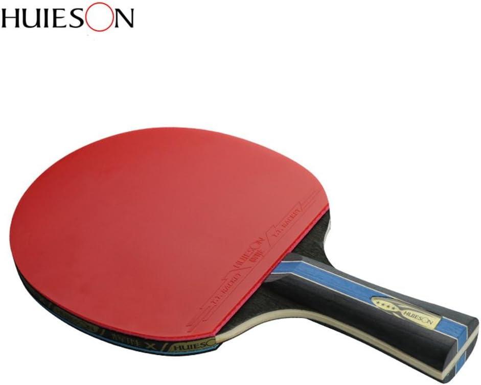 mooderff Raquette de Ping Pong 4 /Étoiles en Fibre de Carbone Raquette de Tennis de Table en Caoutchouc Poign/ée Courte//Manche Long