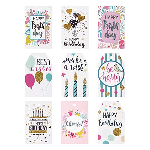 WRAPAHOLIC Gift Tags with String - 54PCS Birthday Paper Tags with Glitter Celebrating Candles, Balloons Pattern Design for Birthday, Party Favors, Baby ()