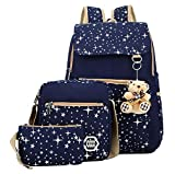 IYOWEL Kids Cute Waterproof Nylon School Backpack Canvas Backpack Set Casual 3 Pieces