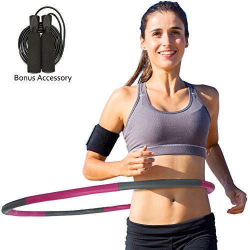 """Weighted Hula Hoop for Exercise Adults Kids , Fitness Dancing Sport Hoop , with Free Accessory Skipping Rope , Perfect Weight Loss Equipment ,2.16LB(Dia.37"""") Large , Easy,Funny Way to Spin"""