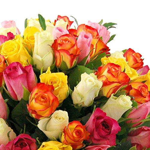 clare florist 100 rainbow rose bouquet amazoncouk garden u0026 outdoors