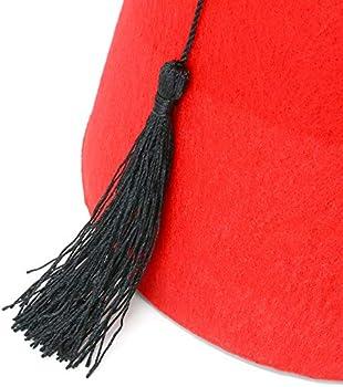 Moroccan Costume Accessory Fez Hats with Black Tassel 1 Piece Skeleteen Arabian Red Fez Hat