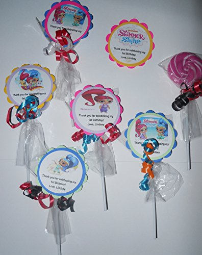 24 Nick Jr Shimmer and Shine Themed Party Favors Whirly Swirl Pops (Custom Chocolate Lollipops)