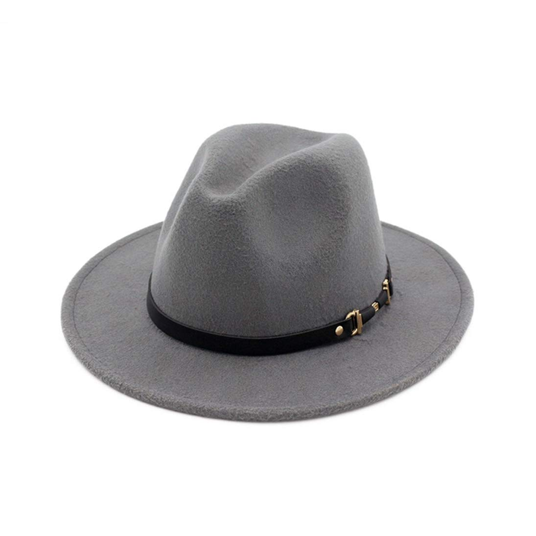 Mens Woolen Wide Brim Fedora Hats Warm Classic Vintage Trilby Hat Jazz Cap with Black Leather Belt