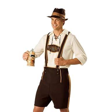 Disfraz de Traje bavaro de hombre vestido de Oktoberfest Costume suit Regional de Baviera Cosplay para Halloween Carnaval Talla XXL